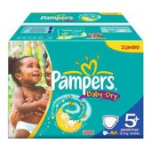 Couches Pampers baby dry taille 5+ - 204 couches bébé