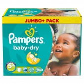 Couches Pampers baby dry taille 5+ - 136 couches bébé