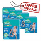 Couches Pampers active baby dry taille 6 - 294 couches bébé