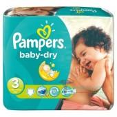 Pack d'une quantité de 34 Couches de la marque Pampers Baby Dry de taille 3 (Midi) (4-9 kg)