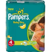 Pack 30 Couches de Pampers Baby Dry taille 4 (Maxi) (7-18 kg)