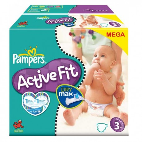 Couches Pampers Active Fit taille 3 - 372 couches de Starckman