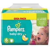 Couches Pampers Baby Dry taille 6 - 198 couches