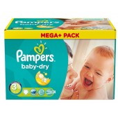 Maxi Pack de 300 Couches Pampers de Baby Dry sur couches zone