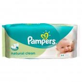 Pack 64 Lingettes Bébés Pampers Natural Clean sur auchan