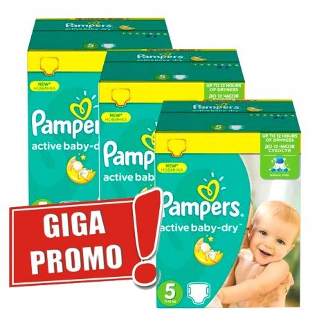Couches Pampers Active Baby Dry taille 5 - 448 couches de Starckman