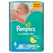 Couches Pampers Active Baby Dry taille 4 - 76 couches