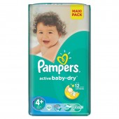 Couches Pampers Active Baby Dry taille 4+ - 53 couches