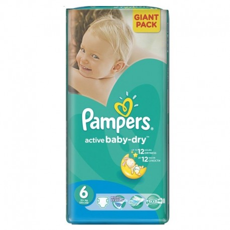Couches Pampers Active Baby Dry taille 6 - 42 couches de Starckman