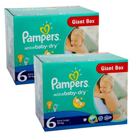 Couches Pampers Active Baby Dry taille 6 - 288 couches de Starckman