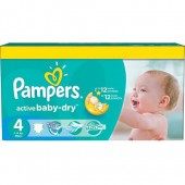 Pack de 132 Couches Pampers Active Baby Dry sur auchan