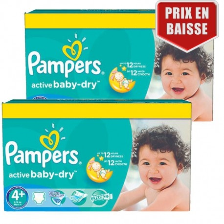 162 Couches Pampers Active Baby Dry taille 4+ de Starckman