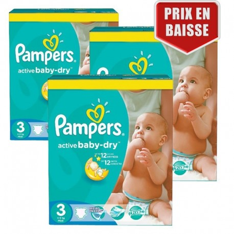 246 Couches Pampers Active Baby Dry taille 3 de Starckman