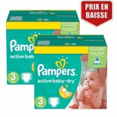 Maxi Giga Pack 410 Couches Pampers Active Baby Dry sur auchan