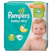 28 Couches Pampers Baby Dry taille 7