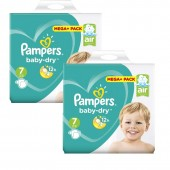 112 Couches Pampers Baby Dry taille 7
