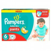 Pack 64 Couches Pampers Baby Dry Pants sur auchan