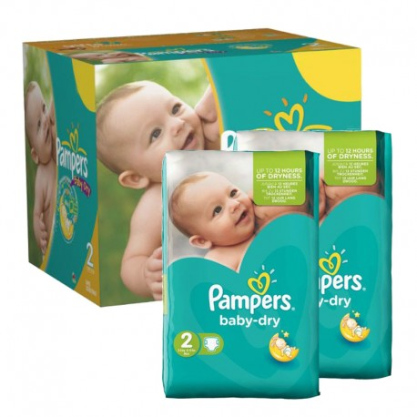 184 Couches Pampers Baby Dry taille 2 de Starckman