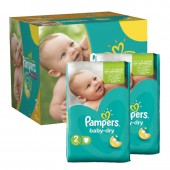 184 Couches Pampers Baby Dry taille 2