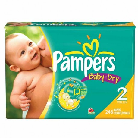 230 Couches Pampers Baby Dry taille 2 de Starckman