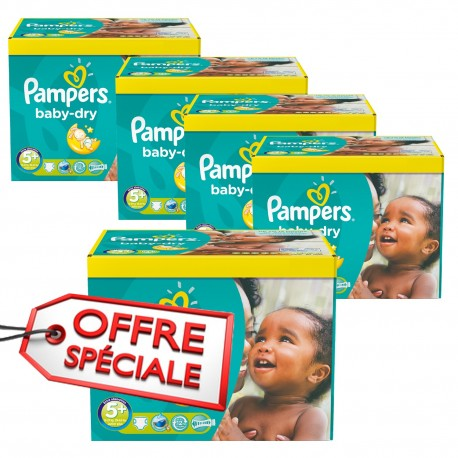196 Couches Pampers Baby Dry taille 5+ de Starckman