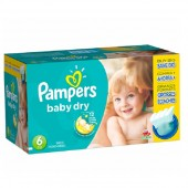 Couches Pampers Baby Dry taille 6 - 124 couches